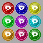 Heart sign icon. Love symbol. Set colur buttons. Vector — Stok Vektör
