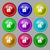 Lock sign icon. Locker symbol. Set colur buttons. Vector — Stok Vektör