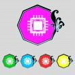 Central Processing Unit Icon. Technology scheme circle symbol. Set colourful buttons. Vector — Stock Vector #53670571