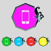 Smartphone teken pictogram. ondersteuning symbool. callcenter. colur knoppen vector instellen — Stockvector