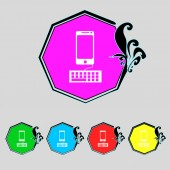 Computer keyboard and smatphone Icon. Set colourful buttons. Vector — Stock Vector