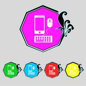 Smartphone širokoúhlý monitor, klávesnice, myši ikonu podepsat. sada barevných tlačítek. vektor — Stock vektor