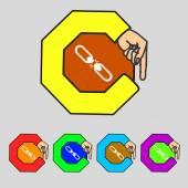 Broken connection flat single icon.Set colur buttons. Vector — Stock Vector