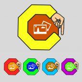 Copy File JPG sign icon. Download image file symbol. Set colourful buttons. Modern UI website navigation Vector — Stock Vector