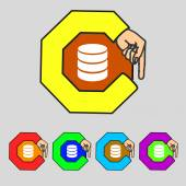 Hard disk and database sign icon. flash drive stick symbol. Set colourful buttons. Vector — 图库矢量图片