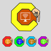 Wi fi sign icon. Video game symbol. Set colourful buttons. Vector — Stock Vector