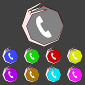 Ikona znak telefon. symbol wsparcia. call center. kolorowe przyciski wektor zestaw — Wektor stockowy