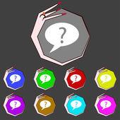 Ikona znak zapytania. pomoc mowy bańka symbol. faq znak. zestaw kolorowych przycisków. wektor — Wektor stockowy