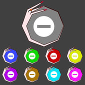 Stop sign icon. Prohibition symbol. No sign. Set colourful buttons. Vector — Wektor stockowy