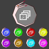 Mp3 music format sign icon. Musical symbol. Set colourful buttons. Vector — Stockvector