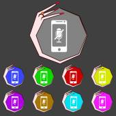 No Microphone sign icon. Speaker symbol. Set colourful buttons. Vector — Wektor stockowy