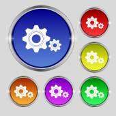 Ikonę znak ząb ustawień. inżynieria sprzętu mechanizmu symbol. zestaw kolorowych przycisków. wektor — Wektor stockowy