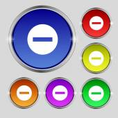 Stop sign icon. Prohibition symbol. No sign. Set colourful buttons. Vector — Stockvector