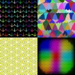 Set of Abstract rainbow colorful tiles mosaic painting geometric palette pattern background. Vector — Stock Vector #54817127