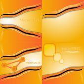 Zestaw pomarańczowy i żółty streszczenie sztuka woda kolor strony farba tła. wektor — Wektor stockowy
