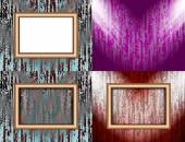 Set of colorful abstract backgrounds and frames for text or photos illuminated by searchlights. vector — Stock Vector