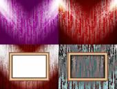 Conjunto de fondos abstractos y marcos de texto o fotos iluminados por reflectores. vector — Vector de stock