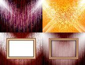 Zestaw kolorowy streszczenie tło i ramki tekstu lub zdjęć oświetlone przez reflektory. wektor — Wektor stockowy