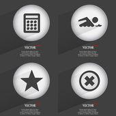 Ensemble d'une couleur web boutons design plat. cercle simple autocollant internet signe gris fond. éléments de conception Web. Vector — Vecteur