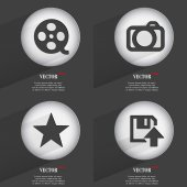 Set of one-color web buttons flat design. Simple circle sticker internet sign gray background. web-design elements. Vector — Stock Vector