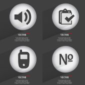 Set of Trendy buttons. Icons With Long Shadow. Vector — Stock Vector