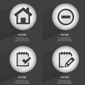 Set of Trendy buttons. Icons With Long Shadow. Vector — Stok Vektör