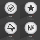 Set of 4 Flat Buttons. Icons with Shadows on Circular. Vector — Stock Vector