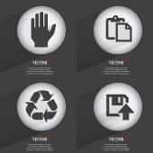 Set of 4 Flat Buttons. Icons with Shadows on Circular. Vector — Vector de stock