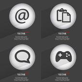 Conjunto de 4 botões simples. ícones com sombras na circular. Vector — Vetor de Stock