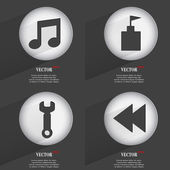 Set of 4 Flat Buttons. Icons with Shadows on Circular. Vector — Stock vektor