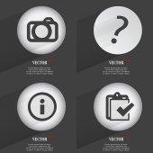 Uppsättning 4 platta knappar. ikoner med skuggor på cirkulär. vektor — Stockvektor