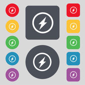 Photo flash sign icon. Lightning symbol. Set of colour buttons. Vector — Stock Vector