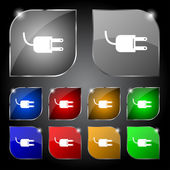 Electric plug sign icon. Power energy symbol. Set colour buttons. Vector — Wektor stockowy