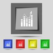 Text file icon. Add document with chart sign. Accounting symbol. Set colour buttons Vectorns Vector — Stok Vektör