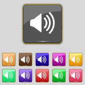 Speaker volume sign icon. Sound symbol. Set colour buttons. Vector — Stock Vector