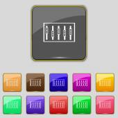Dj console mix handles and buttons, level icons. Set of colour buttons. Vector — Wektor stockowy
