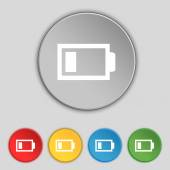 Battery low level sign icon. Electricity symbol. Set of colour buttons. Vector — Wektor stockowy