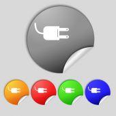Electric plug sign icon. Power energy symbol. Set colour buttons. Vector — Stok Vektör