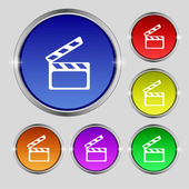 Cinema Clapper  sign icon. Video camera symbol. Set of colour buttons. Vector — Stock vektor