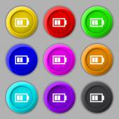 Battery half level sign icon. Low electricity symbol. Set of colour buttons. Vector — Stok Vektör
