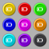 Battery low level sign icon. Electricity symbol. Set of colour buttons. Vector — Stok Vektör