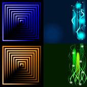 Satz von abstrakten Linien verschwommen. Lichteffekt. Funkel Hintergrund. Vektor — Stockvektor