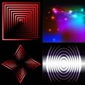 Set of Blurry abstract lines. Light effect. Sparkle background. Vector — Vector de stock