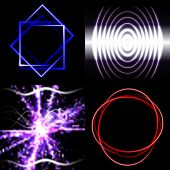 Set of Blurry abstract lines. Light effect. Sparkle background. Vector — Vetor de Stock