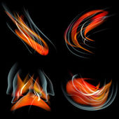 Set of Flames different shapes on a black background. EPS10. Mesh. Vector — Stock Vector