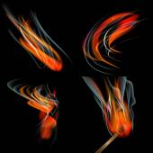 Collection of fires isolated on black background. Vector — Stock Vector