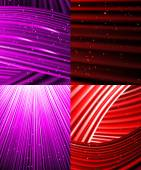 Set of background of colourful luminous rays. Vector — Stock Vector