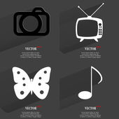 Set of fashionable icons, trending symbols. Flat design for your web-design. Vector — Stock Vector
