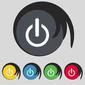 Power sign icon. Switch symbol. Turn on energy. Set of colourful buttons — Stock Vector
