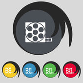 Video sign icon. frame symbol. Set colourful buttons. Vector — Stock Vector